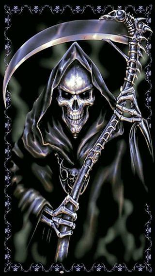 Обои на телефон мрачные, жнец, череп, skull grim reaper