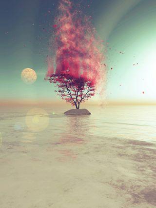 Обои на телефон фантастика, пламя, планета, океан, огонь, море, луна, красые, дерево, virtuosity, speace