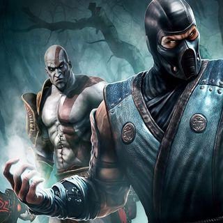 Обои на телефон против, мортал, кратос, комбат, игра, война, бог, sub zero vs kratos, god of war