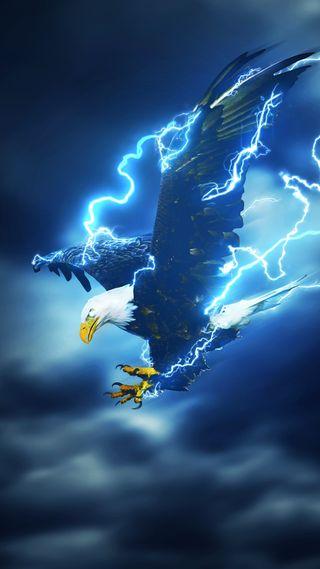 Обои на телефон молния, орел