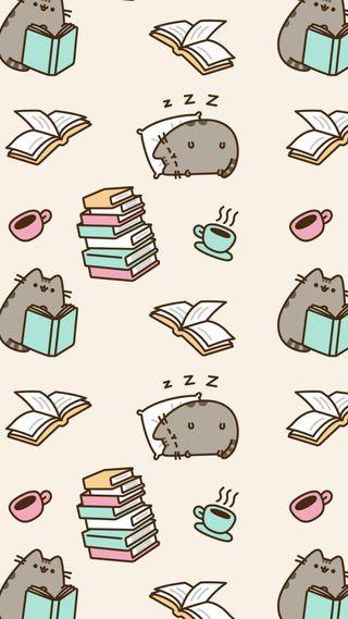 Обои на телефон сон, пушин, кофе, книги