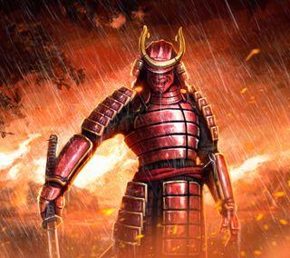 Обои на телефон самурай, огонь, меч, маска, катана, дождь, броня