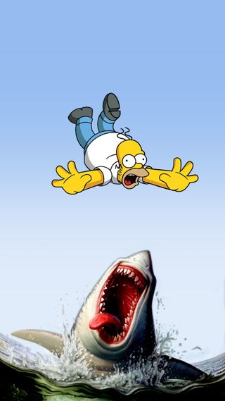 Обои на телефон гомер, акула, симпсоны, requin