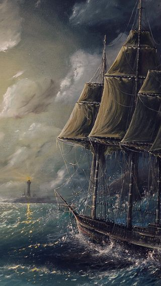Обои на телефон иллюстрации, эпл, шторм, свет, лодки, айфон, sail, plus, iphone, boat in storm, apple
