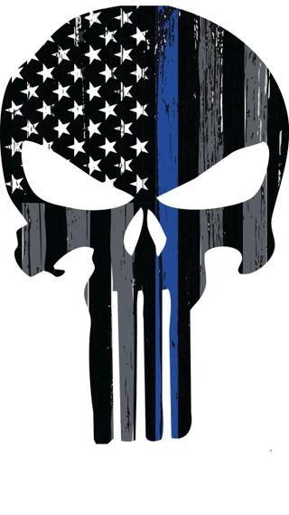 Обои на телефон каратель, череп, синие, полиция, марвел, линии, thin blue line, punisher skull, marvel