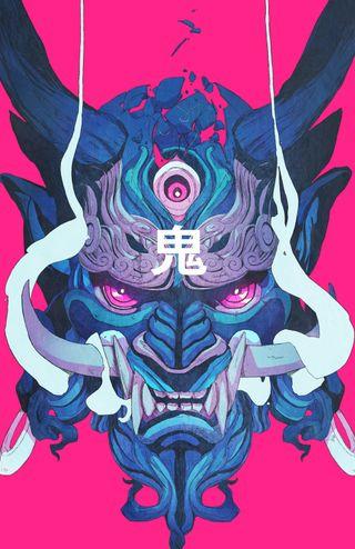 Обои на телефон самурай, синие, розовые, маска, демон