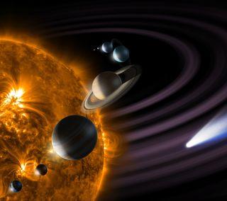 Обои на телефон солнечный, солнце, система, планета, космос, звезда, orbit, comet