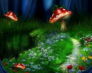 Обои на телефон трава, цветы, зеленые, грибы, dreamland