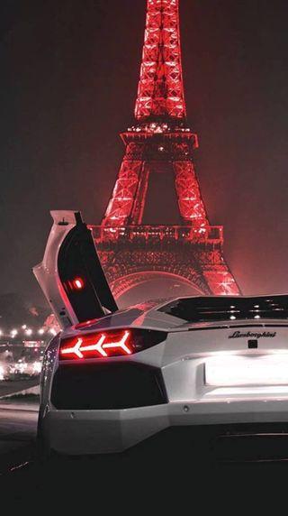 Обои на телефон париж, машины, жизнь, башня, paris and lamborghin