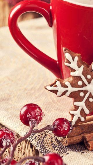 Обои на телефон чашка, красые, зима, cup