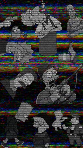Обои на телефон лиза, черные, симпсоны, грустные, гомер, винтаж, барт, gris, 1991, 1990