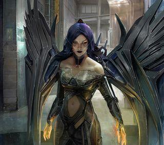 Обои на телефон крылья, темные, женщина, ангел