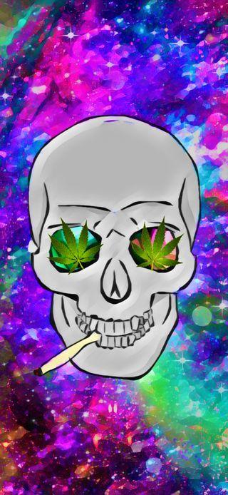 Обои на телефон сигареты, череп, галактика, stoner, maryjane, galaxy, 420