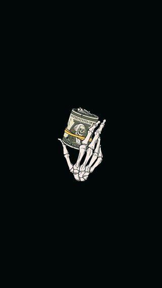 Обои на телефон скелет, рука, доллары