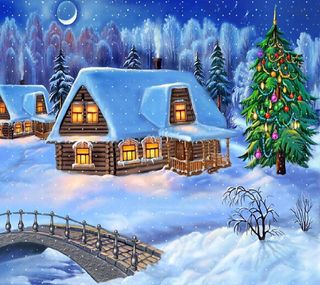 Обои на телефон каникулы, счастливые, снег, случаи, рождество, дом, дерево