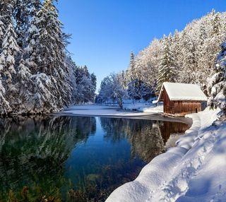Обои на телефон холодное, снег, природа, пейзаж, озеро, зима, дом
