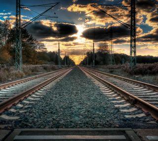 Обои на телефон пути, поезда, пейзаж, закат, железная дорога, дорога, tracks railway