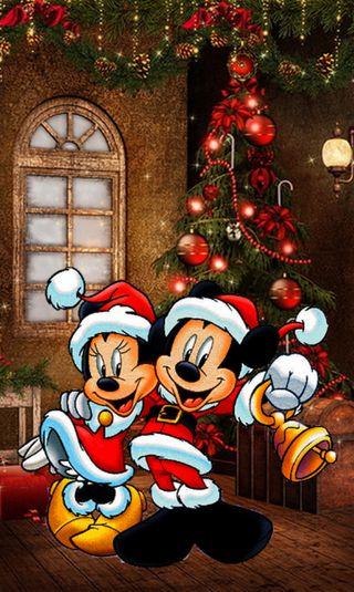 Обои на телефон счастливое, рождество, микки, маус