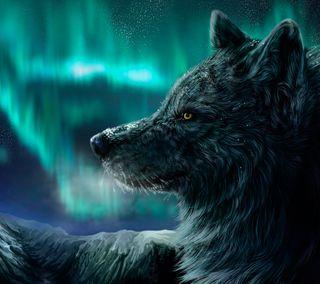 Обои на телефон северный, аврора, огни, ночь, звезда, животные, волк, northern lights, night wolf