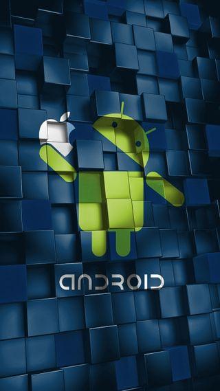 Обои на телефон дроид, эпл, синие, зеленые, андроид, apple, android ate apple, android