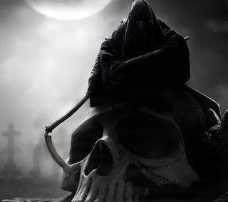 Обои на телефон тьма, жнец, череп, темные, мрачные