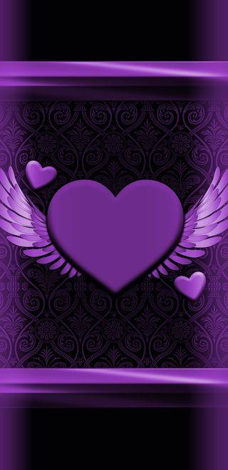 Обои на телефон крылья, шаблон, фиолетовые, симпатичные, сердце, любовь, love