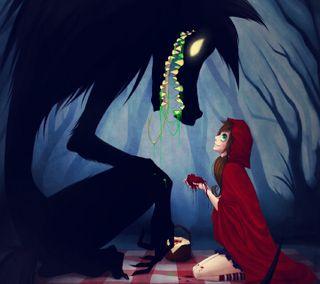 Обои на телефон сердце, мультфильмы, кровь, красые, капюшон, волк, red riding hood, hq