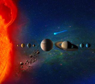 Обои на телефон солнечный, солнце, система, планета, космос, звезда, the solar system, meteor