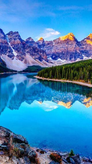 Обои на телефон ручей, рокки, пруд, озеро, небо, красота, долина, горы