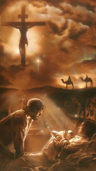 Обои на телефон христос, рожденный, малыш, крест, исус, бог, son of god, mary, joseph, jesus is born, crucifixion, crucified, baby jesus