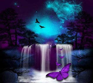 Обои на телефон падает, бабочки, природа
