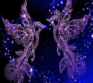 Обои на телефон птицы, удивительные, огни, неоновые, любовь, love