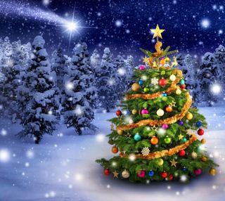 Обои на телефон холодное, счастливое, снег, рождество, ночь, зима