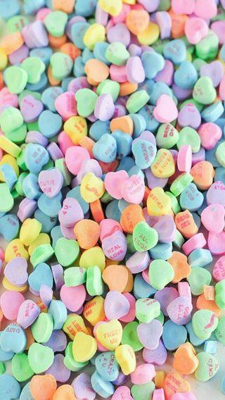 Обои на телефон конфеты, цветные, сладости, сердце, любовь, красочные