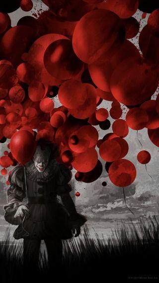 Обои на телефон клоун, шары, ужасы, страшные, пеннивайз, оно, красые, жуткие, red balloons