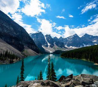 Обои на телефон озеро, природа, прекрасные, облака, небо, красочные, горы, lake wiew 4k