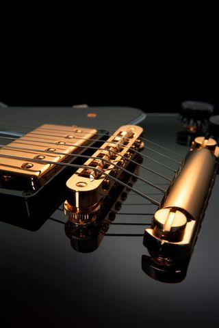 Обои на телефон гитара, черные, золотые