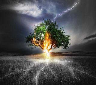 Обои на телефон шторм, природа, огонь, молния