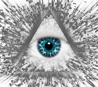 Обои на телефон треугольник, глаза, абстрактные