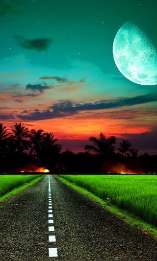 Обои на телефон вечер, поле, ночь, закат, дорога, road night, moonlite road, moonlite field evening