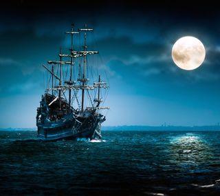 Обои на телефон пираты, корабли, океан, море, лунный, луна, лодки