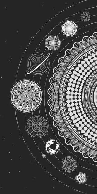 Обои на телефон солнечный, черные, система, планеты, белые, арт, art