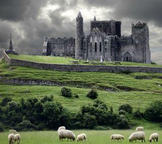 Обои на телефон штормовой, ирландия, замок