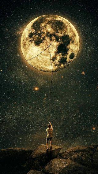 Обои на телефон черные, лунный, луна, звезды, звезда, астрономия, wow, tiedup, giant moon, bug