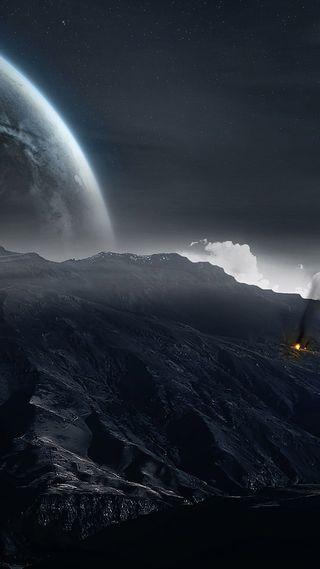Обои на телефон стена, оригинальные, одинокий, луна, звезды, горы, stills, plus, mac, lone moon, hd