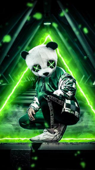 Обои на телефон панда, неоновые, зеленые