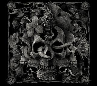 Обои на телефон anrt, ros, serpiente, череп, змея, иллюстрации, кобра