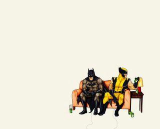 Обои на телефон летучая мышь, пиво, комиксы, игра, забавные, бэтмен, ps, batman comic, bat man