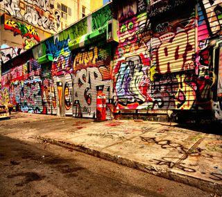Обои на телефон граффити, улица, 3д, 3d street graffiti, 2880x2560