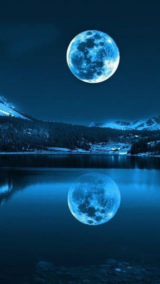 Обои на телефон небо, синие, луна, blue moon